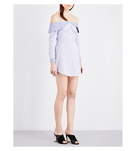 TOPSHOP Striped Bardot cold shoulder cotton-blend shirt dress (Light+blue