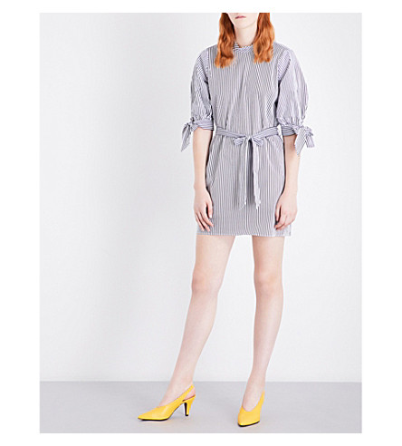 TOPSHOP Tie-sleeve striped cotton-poplin dress