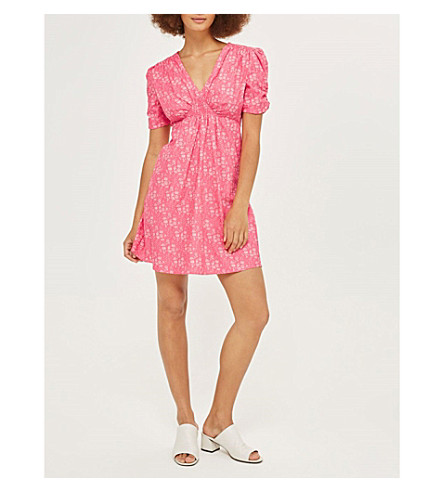TOPSHOP Capel-print cotton dress (Pink