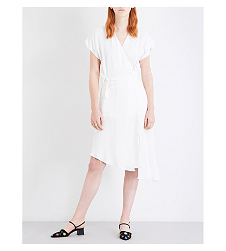TOPSHOP Ruched self-tie crepe dress (Ivory