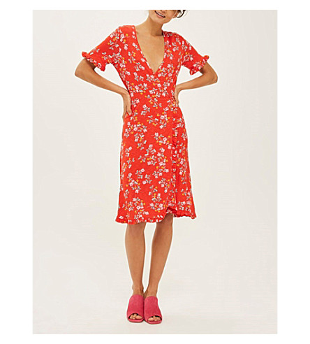 TOPSHOP Ditsy floral-print wrap dress (Red