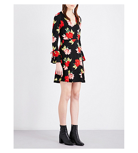 TOPSHOP Rose-print flute-sleeve stretch-crepe skater dress (Black