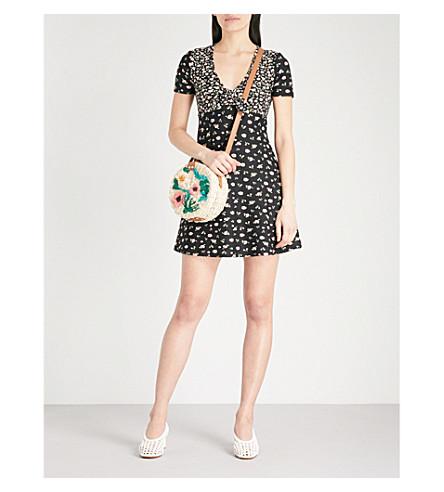 TOPSHOP Floral-print crepe dress (Black