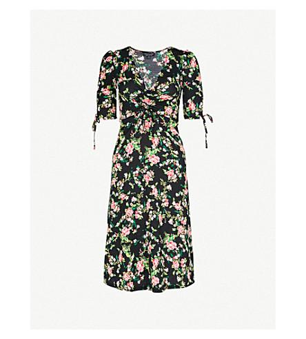 TOPSHOP Floral-print crepe midi dress (Black