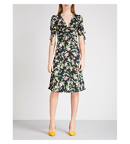 TOPSHOP Floral-print crepe midi dress (Black