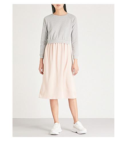 TOPSHOP Hybrid cotton-blend midi dress (Grey