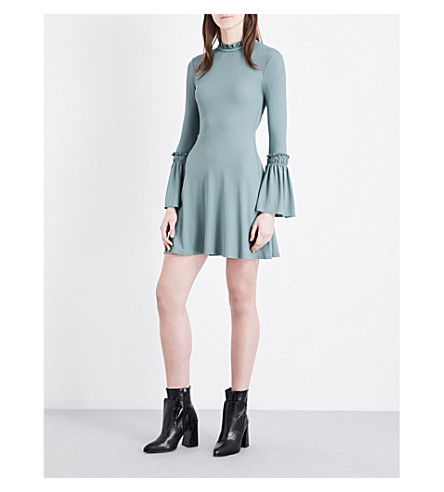 TOPSHOP Ruffled ribbed-jersey dress (Green