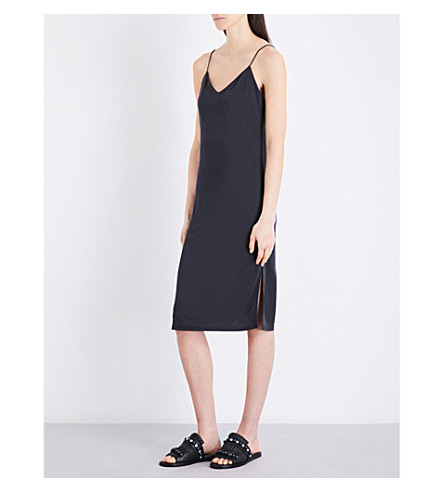 TOPSHOP V-neck piqué slip dress (Black