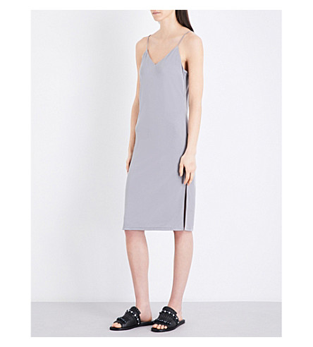 TOPSHOP V-neck piqué slip dress (Grey