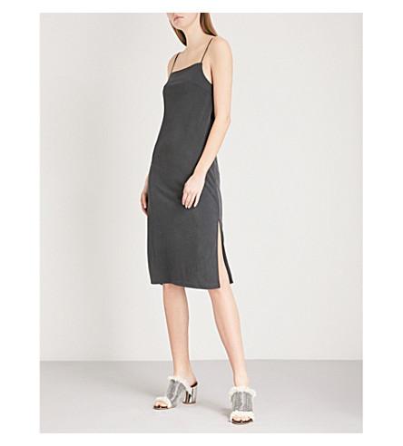 TOPSHOP Square-neck woven slip dress (Black