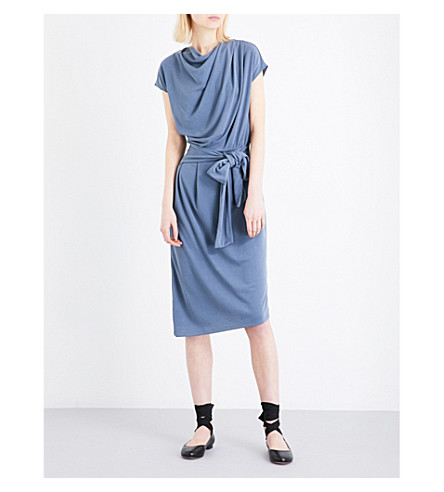 TOPSHOP Drape belted midi dress (Dark+grey
