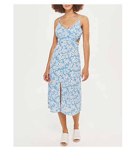 TOPSHOP Cornflower cutout slip dress (Blue