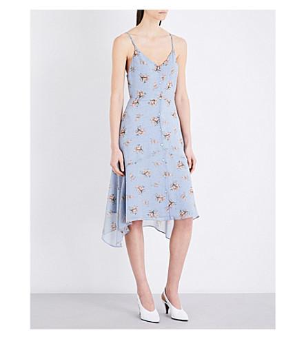 TOPSHOP Ditsy floral-print crepe slip dress (Light+blue