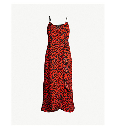 TOPSHOP Animal-print ruffle-trim slip dress (Orange