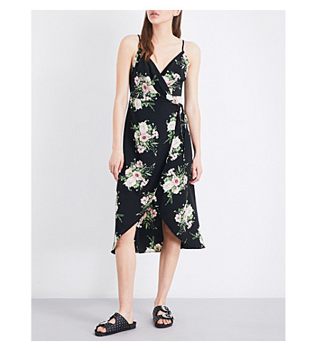 TOPSHOP Anna Rocks crepe wrap dress (Black