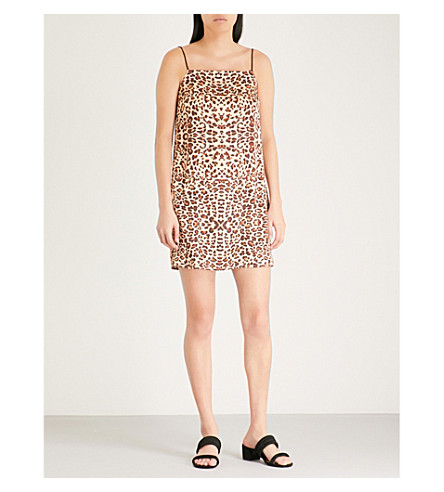 estampado de Multi con satinado leopardo Minivestido TOPSHOP fWxw8qnztY
