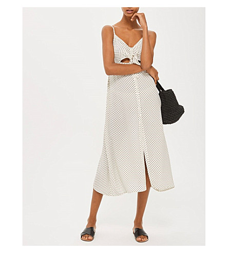 TOPSHOP Pin Star front-knot slip dress (Ivory