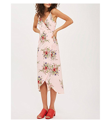 TOPSHOP Anna Rocks floral-print crepe wrap dress (Pale+pink