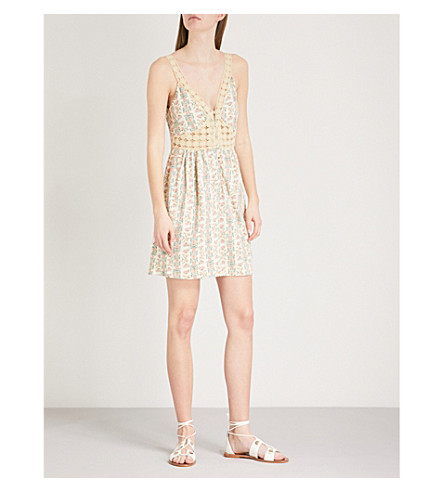 TOPSHOP Floral-print cotton dress (Cream