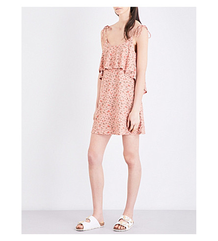 TOPSHOP Tie-shoulder woven dress (Peach