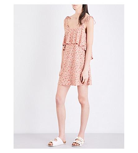TOPSHOP Tie-shoulder woven dress (Peach