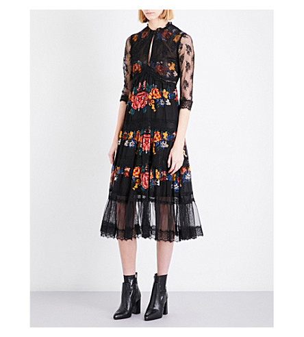 TOPSHOP Floral-print lace and georgette dress (Black