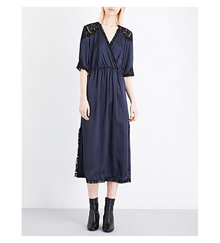 TOPSHOP Lace-insert satin midi dress (Navy+blue