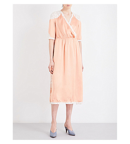 TOPSHOP Lace-trim satin wrap midi dress (Pink
