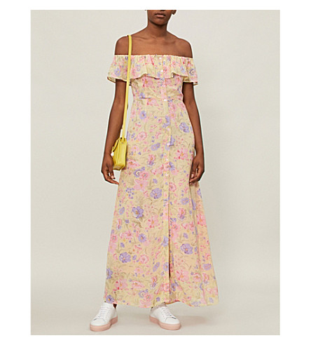 TOPSHOP Floral-print crepe maxi dress (Pink