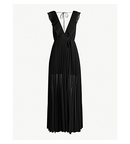 TOPSHOP Ruffle-trimmed crepe dress (Black