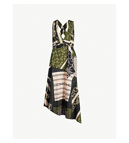 TOPSHOP Esquestrian-pinaforte crepe dress (Multi