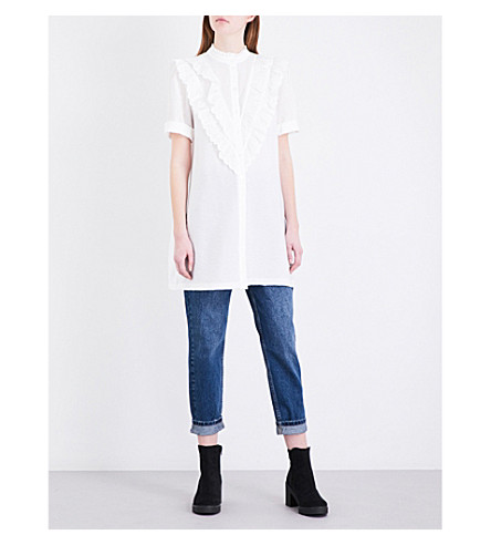 TOPSHOP Frilled poplin shirt dress (White