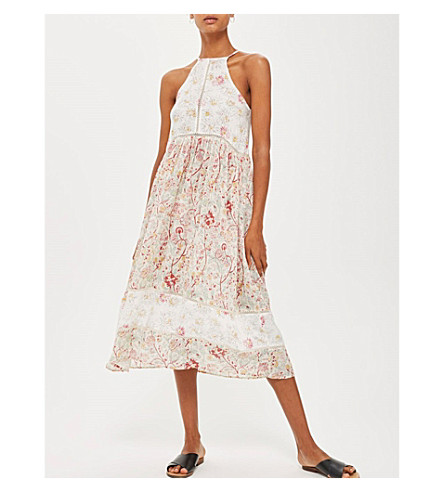 TOPSHOP Patchwork Folk floral midi dress (Red