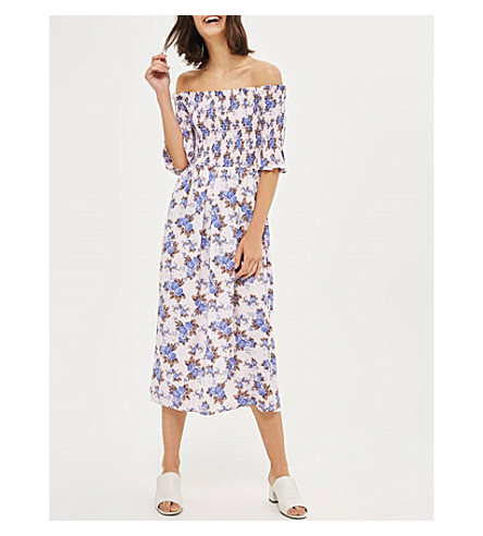 TOPSHOP Floral-print off-the-shoulder dress (Pink