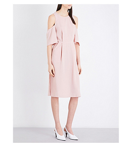 TOPSHOP Cold shoulder woven wrap midi dress (Dusty+pink