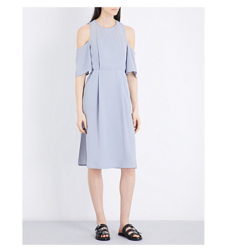 TOPSHOP Cold-shoulder crepe dress (Pale+grey