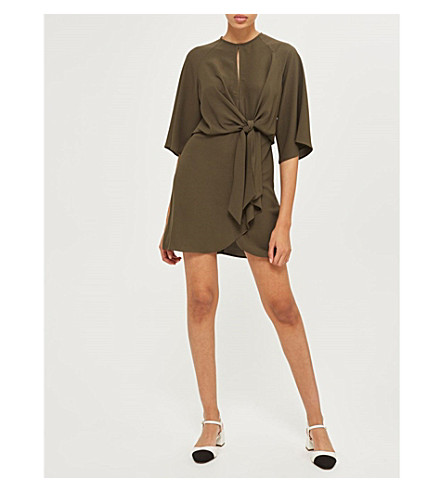TOPSHOP Knot-front crepe mini dress (Khaki