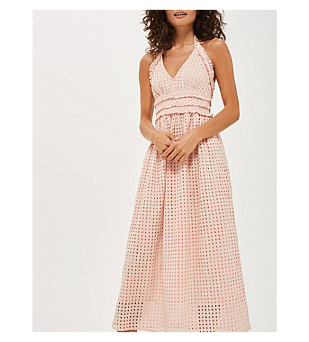 TOPSHOP Broderie anglaise cotton midi dress (Pink
