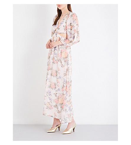 TOPSHOP Floral-print chiffon dress (Ivory