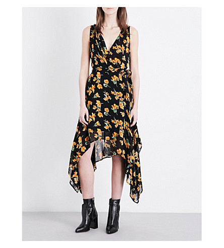 TOPSHOP Floral-print crepe dress (Black