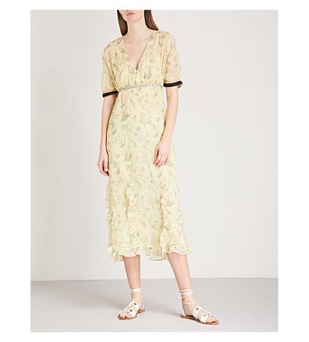TOPSHOP Floral-print chiffon midi dress (Yellow
