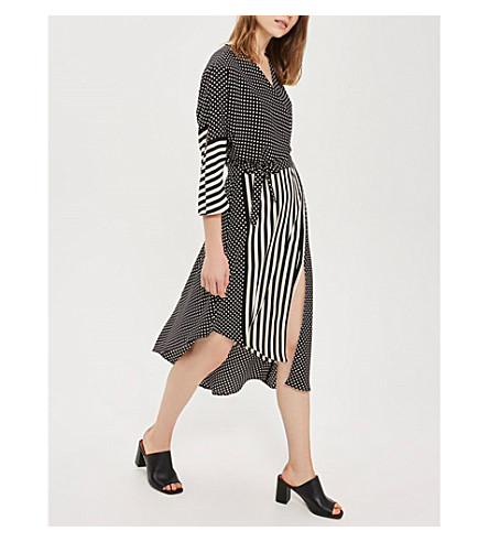 TOPSHOP Spot and stripe mid-wrap crepe dress