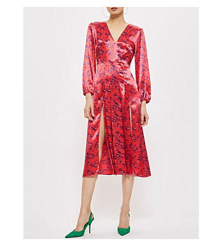 TOPSHOP Floral-print satin midi dress (Red