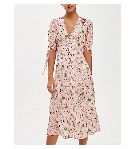 TOPSHOP Floral-print crepe dress (Rose