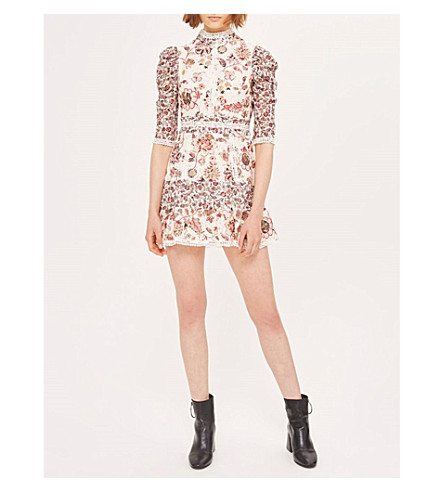 TOPSHOP Floral-print lace cotton-blend mini dress (Ivory