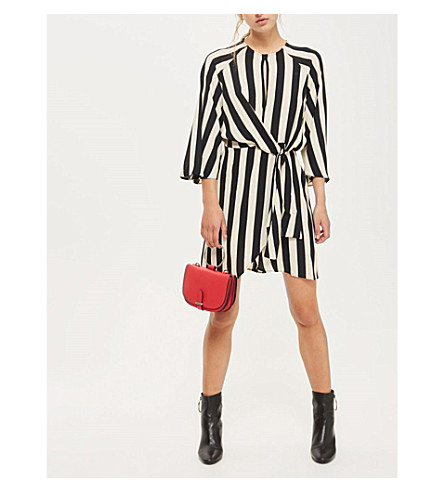 TOPSHOP Humbug-stripe crepe mini dress