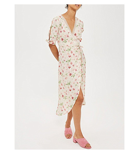 TOPSHOP Floral-print wrap dress (Ivory
