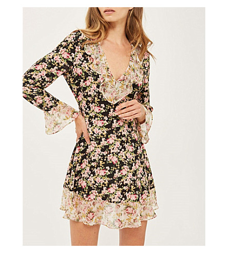 TOPSHOP True romance ruffled crepe dress (Black