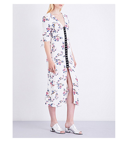 TOPSHOP Floral-print crepe dress (White