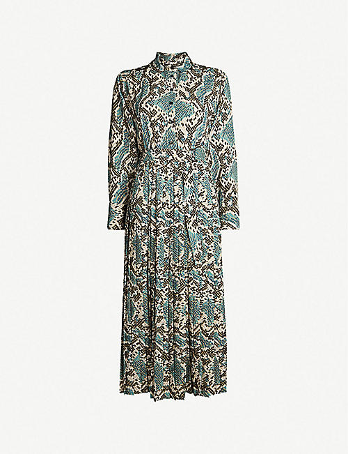 TOPSHOP Python-print pleated dress f3b40d48c